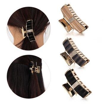 Geometric Metal Retro Rose Hair Claw Clip Rhinestone Mini Clamp Ponytail Holder