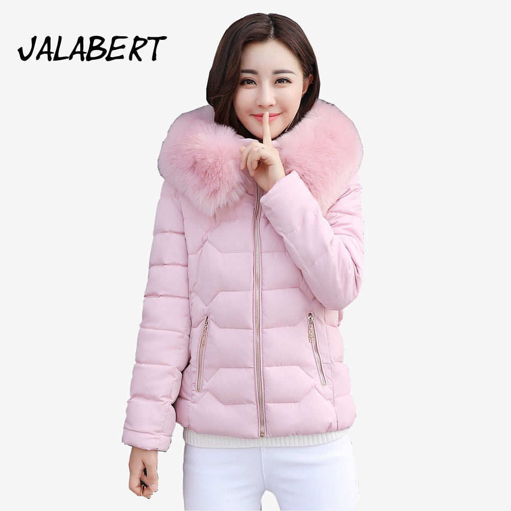 2017 new winter women cotton Slim coats Female short thick Fur collar Hooded warm Solid zipper jacket Parkas women winter coat leisure big yards hooded fur collar jacket thick warm cotton parkas new style female students overcoat ok238