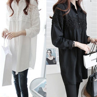 4xl Long Black White Loose Long Sleeve Shirt Female A1957