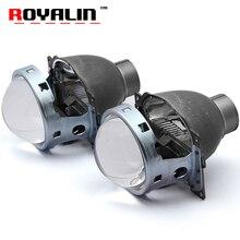 ROYALIN H4 Car External Lights Metal Lenses for Kia Rio 00-10 Ford Focus Civic D2S Lamp HID Bi Xenon Projector Headlight Lens