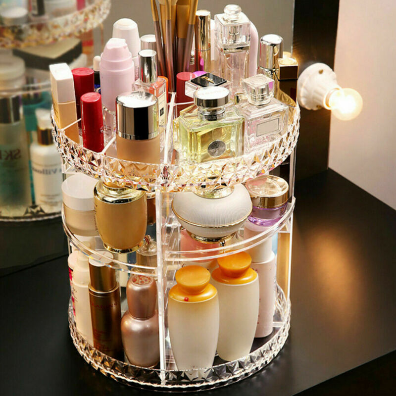 360-Degree Rotating Makeup Organizer Storage Box Case Cosmetics Jewelry Holder Multi-layer Storage Boxes(China)