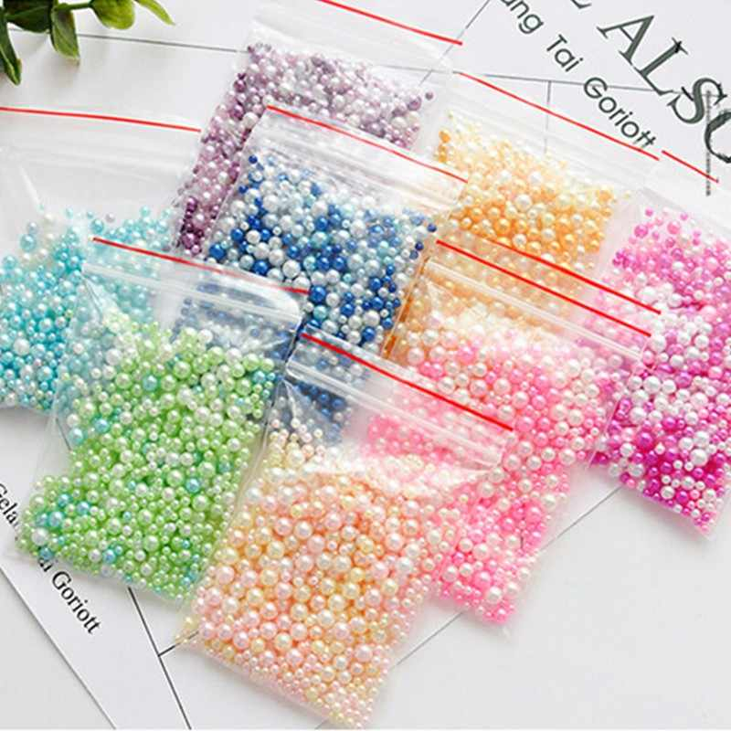 150pcs Fishbowl Beads Slime Supplies DIY Glitter Pearls Slime Filler Fluffy Decoration A-B Color Gradient Slime Accessories