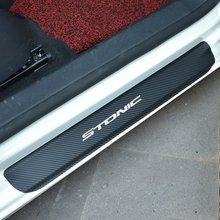 Fibra de carbono decoração do peitoril da porta do carro filme adesivos anti risco nenhum deslizamento protetor do peitoril da porta lnanterior scuff para kia stonic
