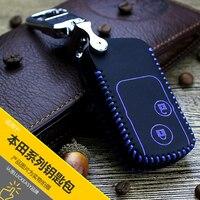 Samochód klucz skrzynki pokrywa dla honda crv 2012 2013 crosstour 2010 skórzana car key bag holder pierścień łańcucha dla honda cr-v