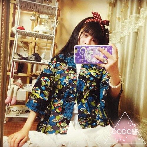 Женский японский кимоно Стиль Верхняя одежда JK короткий кардиган юката стиль винтажная Блузка Косплей 3 узора - Цвет: Fans