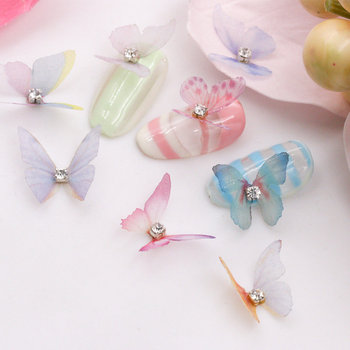 10pcs 3D big chiffon butterfly metal base with glitter rhinestone vivid butterfly design nail art decorations nail accessories chiffon children butterfly wing design cape