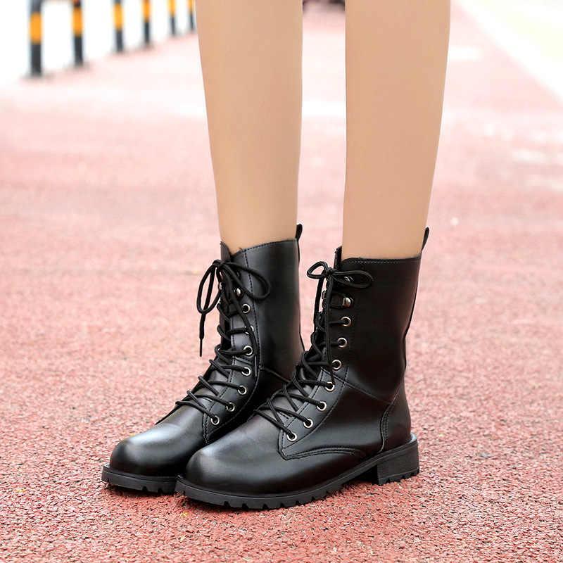 2faf4d21723 ... Nuevas botas de invierno 2018 con cordones a la moda para mujer botas  femeninas negras hunter ...