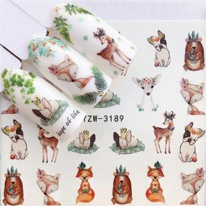 Image 3 - Adesivo para arte de unhas ywk 1pç, raposa, flamingo, cavalo, flor, arte de unha, decoração decalque de beleza