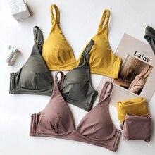Wriufred Simple Comfortable Cotton Wire Free Underwear Set Women Triangle Cup Push Up Bralette Set Sleepwear Seamless Bra Sets