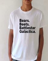 The Office TV Show Mens T Shirt Bears Beets Battlestar Galactica Letter Print Summer Style Sport
