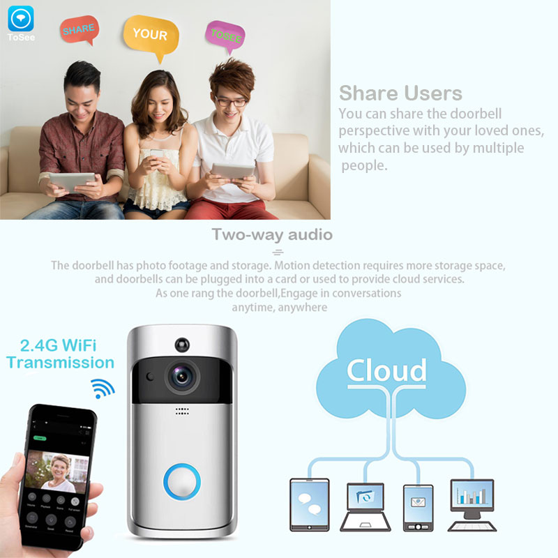 Image 5 - ZWN Smart Wireless Wifi Video Doorbell Intercom 720P Phone Call Door Bell Camera Infrared Remote Record Home Security Monitoring-in Video Intercom from Security & Protection