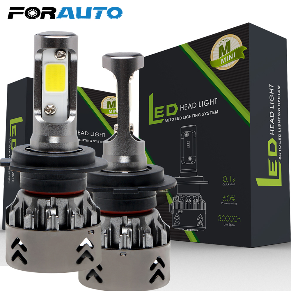 Automobiles & Motorcycles Car Lights Beautiful Forauto 2pcs Led Car Lights H4 H7 9006 H8/h9/h11 60w/set Cool White Ip68 Super Bright Car Modification Hi-lo Beam Headlight Bulb