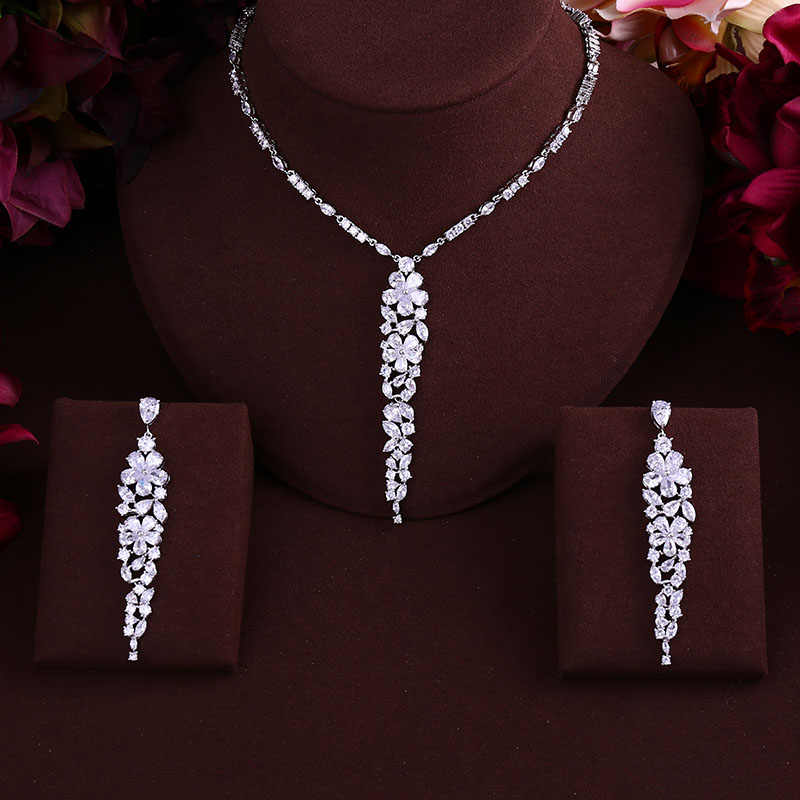 janekelly  Flower Cluster Flora Women Wedding Cubic Zirconia Statement Necklace Earring Jewelry Set