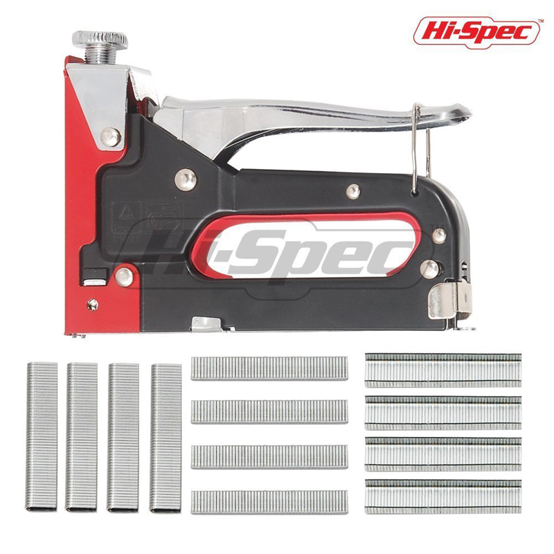 Hi-Spec 2 In 1 Heavy Duty Manual Staple Nail Gun Uphostery Tacker Multitool Furniture Stapler Staple for Hobby Art Craft DT40114