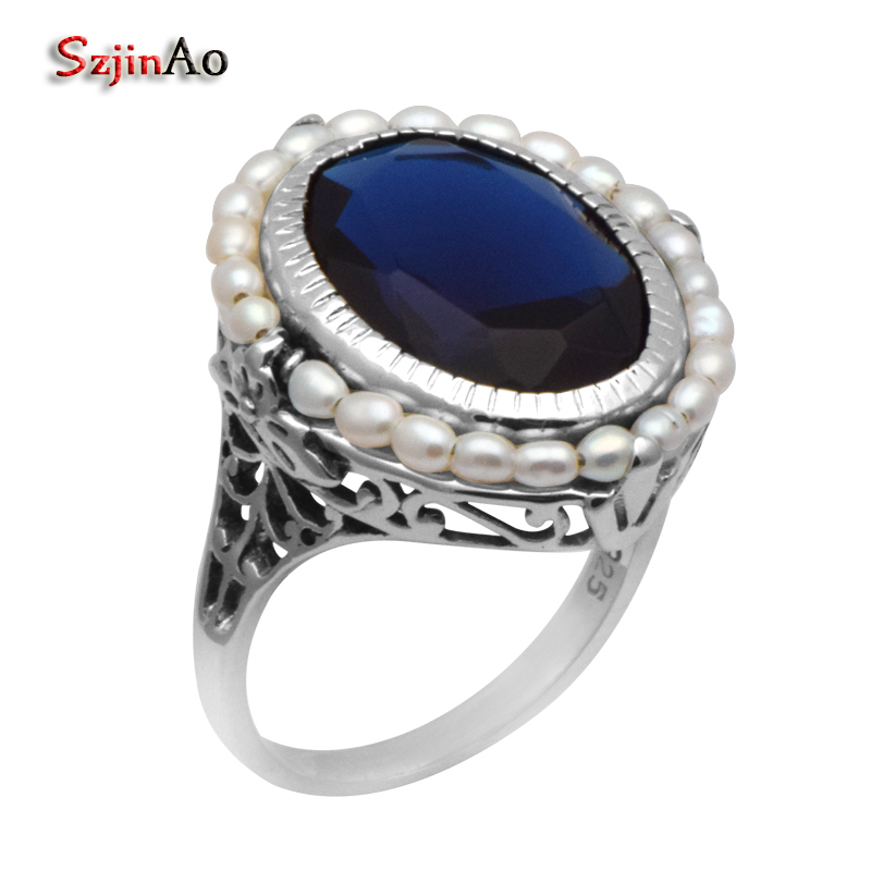Szjinao fashion female replica jewelry antique jewelry natural pearl Sapphrie 925 sterling silver cocktail ring replica ki134 7x18 5x114 3 d67 1 et41 silver