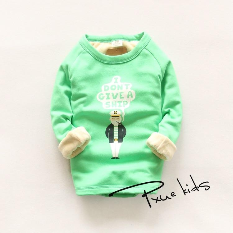 Oğlan qızlar Qış Plus məxmər İsti uzun qollu palto T-shirt - Uşaq geyimləri - Fotoqrafiya 6