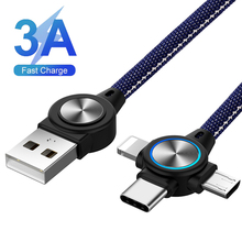 цена на 3 in 1 USB Cable for Mobile Phone Micro USB Type C 8 Pin Charger Cable for iPhone XS XR X Charging Cable Micro USB Charger Cord