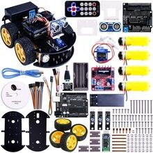 Многофункциональный 4WD Робот Автомобильные Комплекты Ультразвуковой Модуль Робот Автомобиля Монтажный Комплект для Arduino UNO R3 MEGA328P