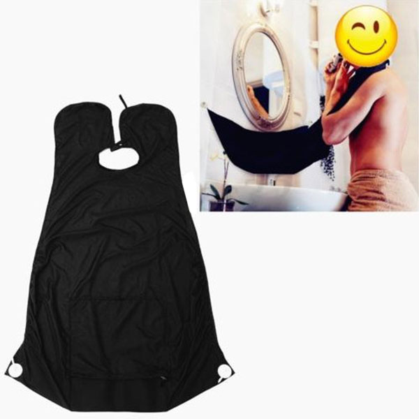 buy new pongee beard care shave apron bib trimmer catcher facial hair cape sink. Black Bedroom Furniture Sets. Home Design Ideas