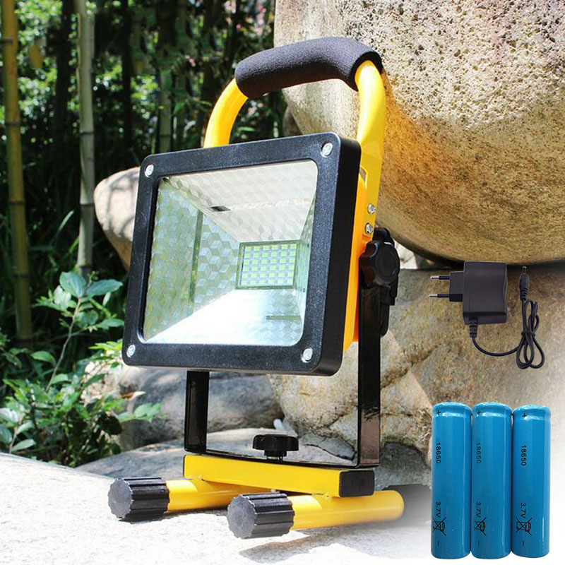Powerful LED Floodlight Red Blue Emergency light Flood Light Work Light camping flashlight Lamp with 18650 battery + charger