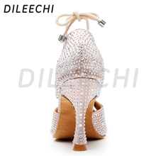 DILEECHI Women Latin Dance Shoes Skin Satin Shining Big small rhinestone dancing shoes Flare heel 9cm Narrow foot Adjust width