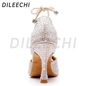 Image 3 - DILEECHI femmes chaussures de danse latine peau Satin brillant grand petit strass chaussures de danse Flare talon 9cm pied étroit ajuster la largeur