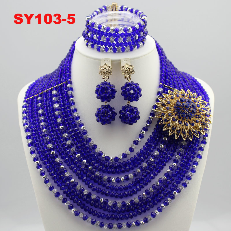 2015 Flower New Style African Beads Jewelry Set Nigerian Wedding ...