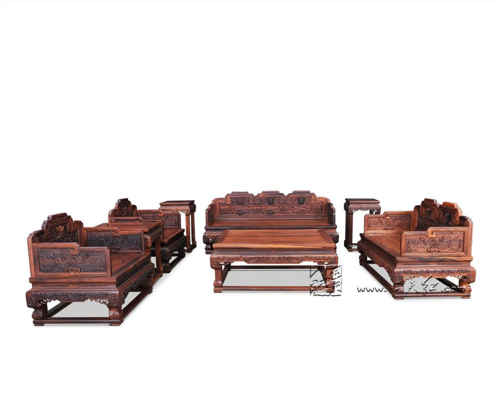 4 шт. диван-кровать 1+ 3 сиденья Бирма палисандр Диван домашний отель гостиная комната набор мебели грагон трон чайный стол люксы современный - Цвет: 8 Pieces Sofa Set1