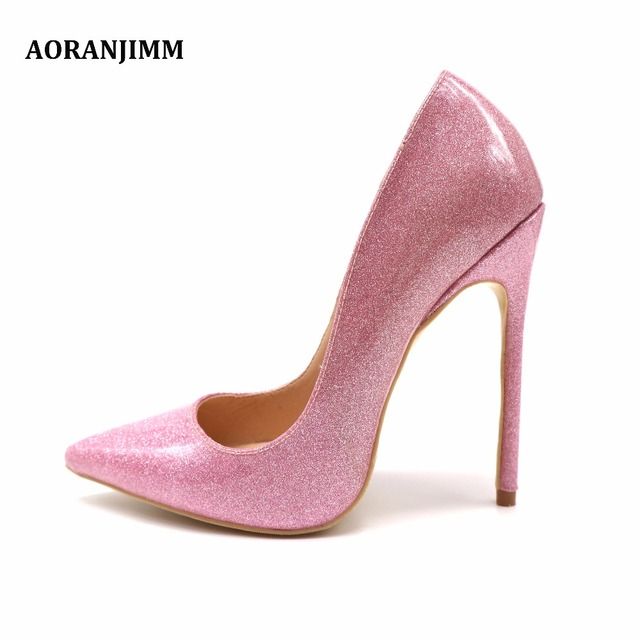 5a9139edff91 Free shipping real pic pointed toe hot sale pink glitter patent leather  pointed toe woman lady 12cm high heel size 42 43 44 33