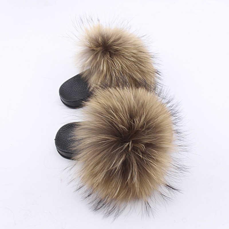 Kids Fur Slides Furry Home Slippers Fluffy Slides Indoor Summer Flat Sandals Flip Flops Brand Luxury Girls Shoes 2019 Size 24-35