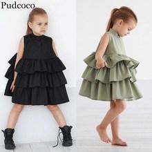Pudcoco/Новинка г.; летнее праздничное платье-пачка принцессы с оборками для маленьких девочек