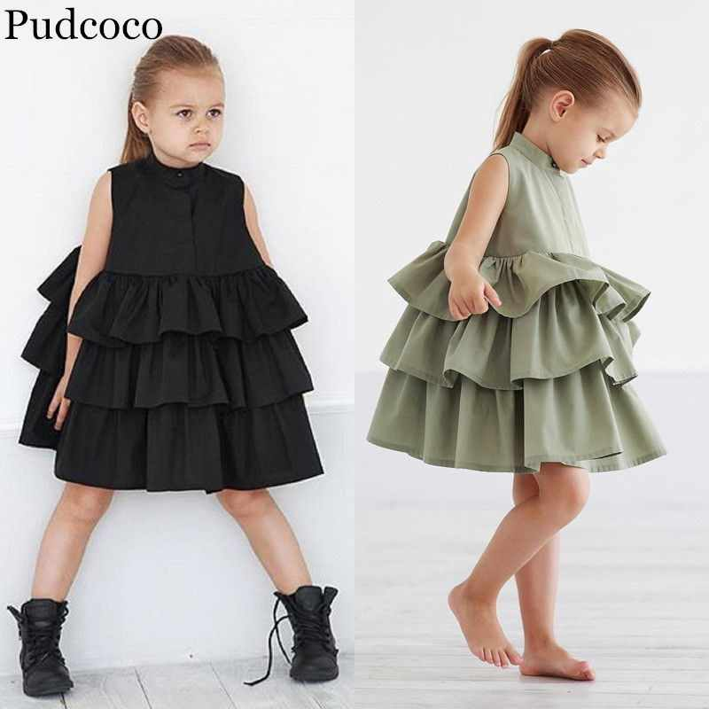 Pudcoco 2019 Brand New Toddler Kid Baby Girls Party Pageant Ruffles Princess Summer Tutu Dress Clothes