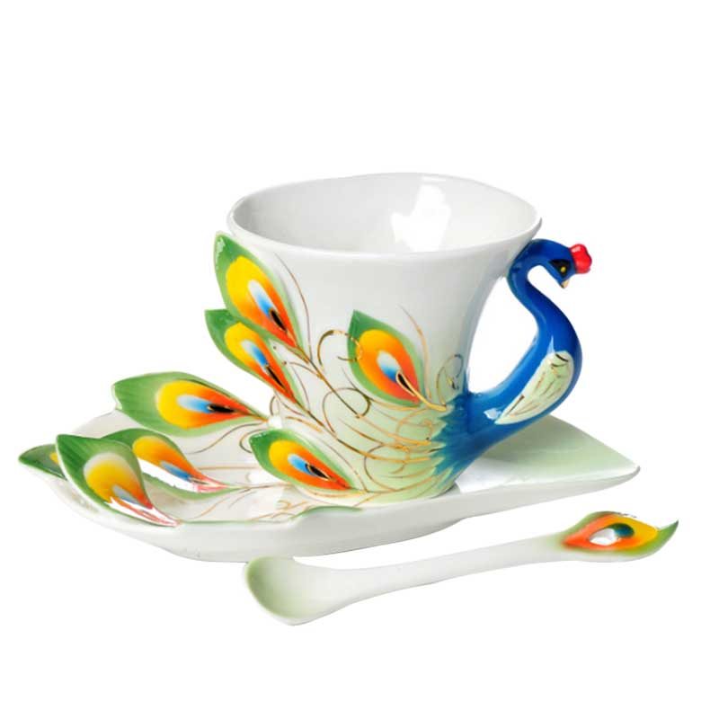 Hand Crafted Collection Porcelain Coffee Tea Cup Sets with Saucer and Spoon New