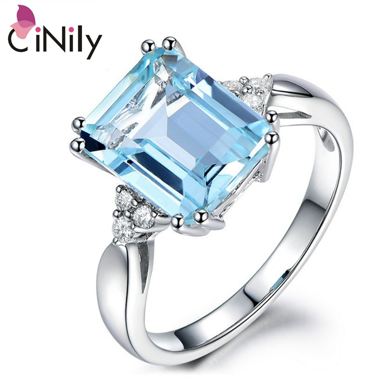 Cinily Jewelry Stone Ring-Size Wedding-Gift Silver-Plated Blue Hot-Sale Women Zirconia