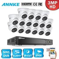 ANNKE 16CH 3MP CCTV Системы HD TVI DVR 16 шт. 2048*1536 TVI безопасности купольная Камера наружного видеонаблюдения Камера домашний комплект видеонаблюдения