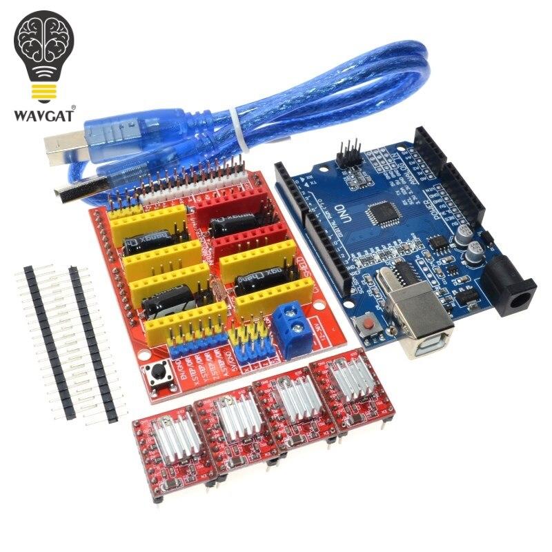¡Envío libre! Cnc escudo v3 máquina de grabado 3D impresora 4 piezas A4988 conductor expansión UNO R3 con cable USB