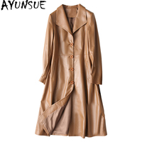 AYUNSUE Women Genuine Leather Jacket Long Trench Coat 2018 Autumn Winter Real Sheepskin Coats Women's Windbreakers 28009 WYQ1456