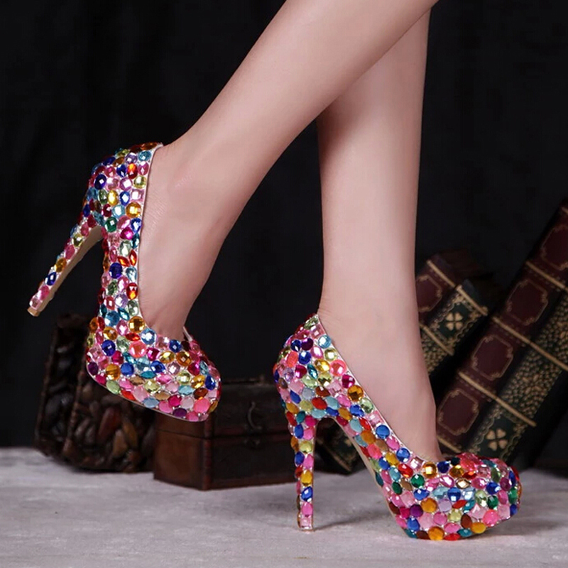 c773ad603823 Red Pink Blue Multi Color Sparkly Crystal Wedding Dress Shoes Womens High  Heel Fashion Diamond Pumps for Evening Party Prom-in Women s Pumps from  Shoes on ...