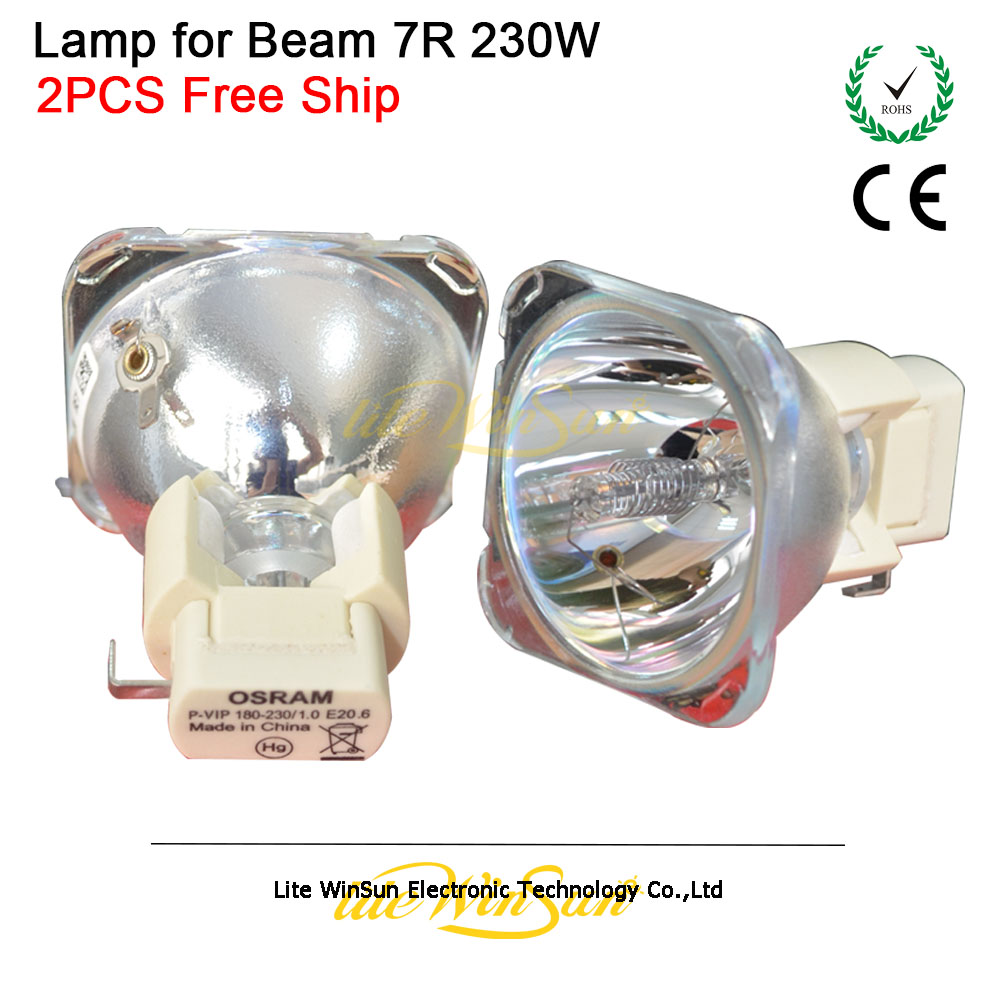 Litewinsune FREE SHIP 2pcs 7R 230W Lamp Bulb for Sharp Moving Beam R7 230W Stage Lighting vip hri sirius 230 7r mercury bulb lamp stage beam lamp bulbs p vip 180 230w 1 0 e20 6 for dj theater concert lighting