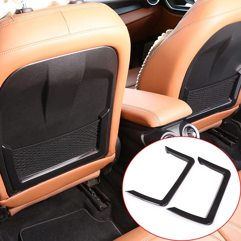 Carbon Fiber Style For Alfa Romeo Giulia 2017 ABS Plastic Seat Back Frame Cover Trim Auto