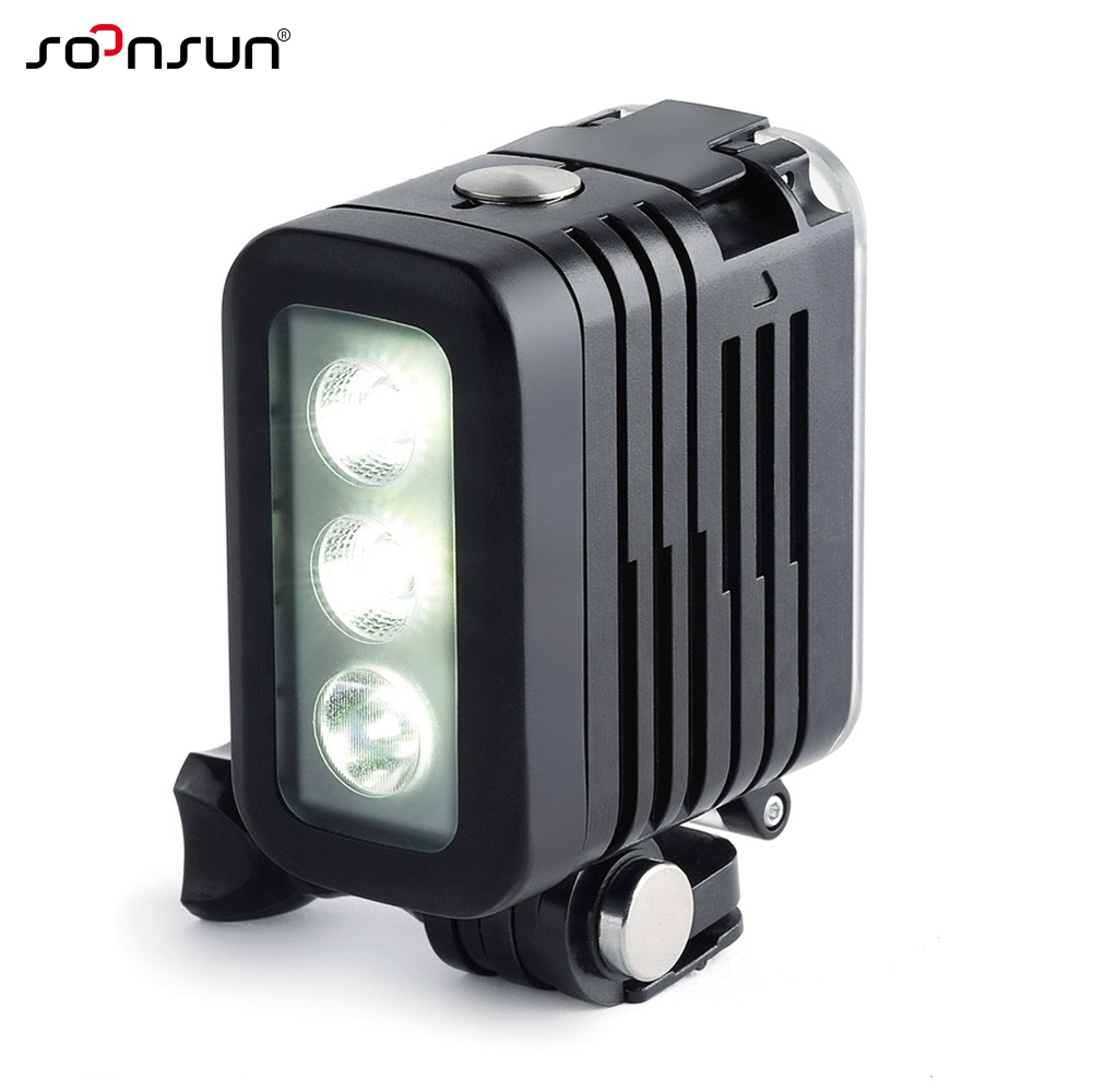 SOONSUN 50M Waterproof Underwater Diving LED Light w/ AHDBT 401 Dual Battery Spot Lamp for GoPro HERO 3 4 5 6 7 Go Pro Accessory-in Sports Camcorder Cases from Consumer Electronics