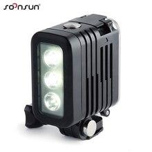 SOONSUN 50M su geçirmez sualtı dalış LED ışık Spot lamba GoPro HERO9 8 7 6 5 4 DJI osmo eylem Canon DSLR kamera için