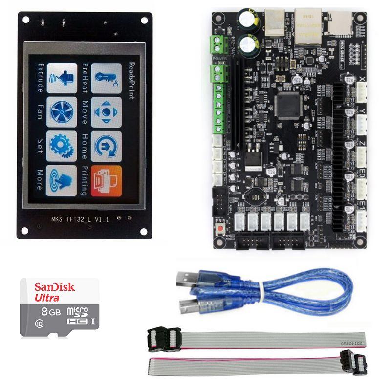 Prix pour 3D imprimante pièces MKS SBASE V1.3 Smoothieboard + MKS TFT32 contrôleur d'affichage + 8 Gb sd carte