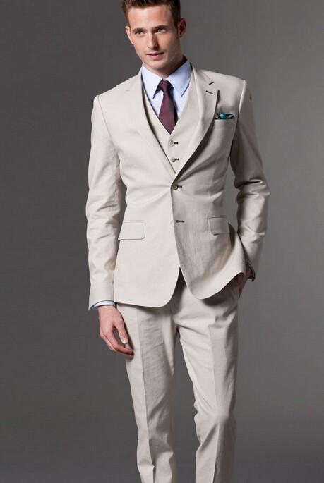 2017 Latest Coat Pant Designs Ivory Formal Custom Made Beach Wedding Suits For Men Groom Skinny 3 Pieces Jacket+Vest+Pants 397