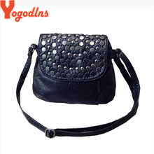 Yogodlns Fashion Black Enveljavascope Women Clutch Rivet Girls Leather Party Purse Small Shoulder Handbag Evening Messenger Bags(China)