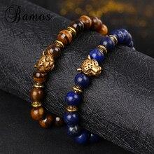 Bamos Gold Color Leopard Head Bracelet Buddha Beads Bracelet