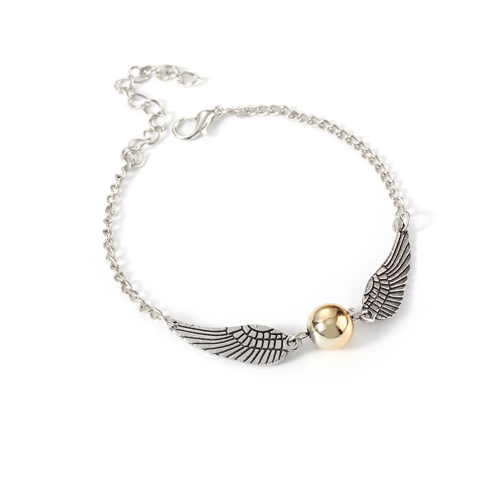 Mens and Womens Bracelet Golden Snitch Harry Potter Black Color Owls Angel Wings Deathly Hallows Braided