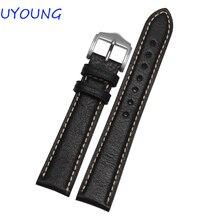 Alta Calidad de Cuero Genuino correa de Reloj 18mm 20mm 22mm 24mm Negro Marrón Reloj Accesorios de Todas Las Marcas General