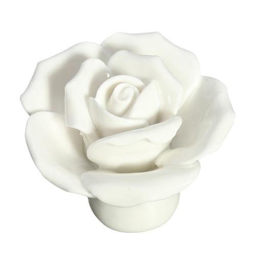 HOT SALE 1 x Button Door Handle Drawer Cabinet Closet Ceramic Flower Rose Dresser Knob white hot sale extra door