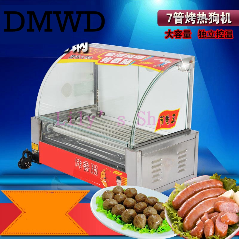 DMWD 7 <font><b>rollers</b></font> <font><b>Commercial</b></font> sausage heating <font><b>machine</b></font> electric breakfast teppanyaki <font><b>grill</b></font> <font><b>hot</b></font> <font><b>dog</b></font> kebab stainless steel hotdog maker